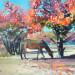 «Конь в красном саду», холст, масло, 35х44см., 2020г., оз. Иссык-Куль